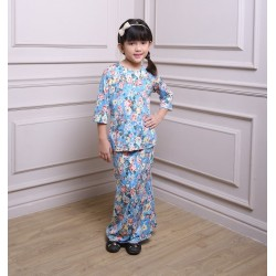 HALEEMA Kids Printed Lycra Baju Kurung in Blue