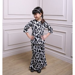HALEEMA Kids Printed Lycra Baju Kurung in Black