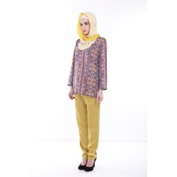 RAEESA Silky Slim Cut Pants in Yellow Mustard