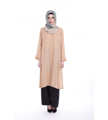 USHNA metallic chiffon tunic shirt in Skin