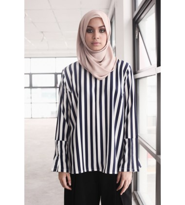 AFANIN striped top with slit bell sleeves