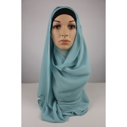 LIYANA Soft Chiffon Shawl with Tie in Dusky Blue
