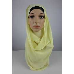 LIYANA Soft Chiffon Shawl with Tie in Pale Yellow