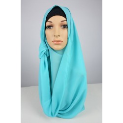 LIYANA Soft Chiffon Shawl with Tie in Turquoise Blue