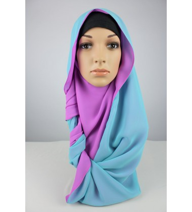 ARIANA Rectangular Soft Chiffon Two Tone in Pink/Blue