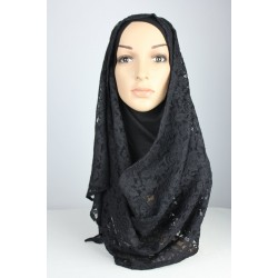 LINA black lace scarf/shawl in Black