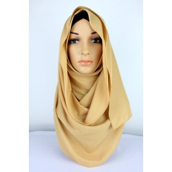 SALMA Metallic Chiffon Shawl in Light brown
