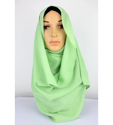 SALMA Metallic Chiffon Shawl in Light Green