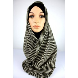 ATHIRA Stripe Chiffon Shawl in Black/Cream