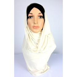 HUDA Soft Jersey Shawl in White Beige