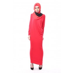 Latifa Draped Jersey Dress in Cherry Red