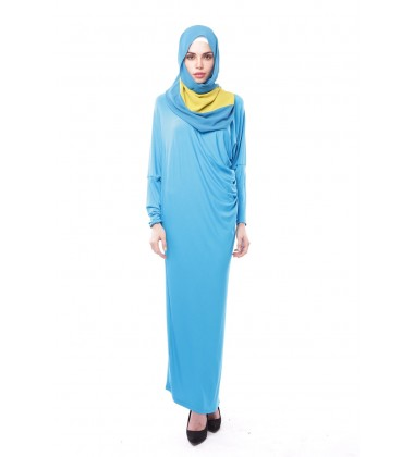 Latifa Draped Jersey Dress in Bright Blue