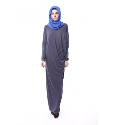Latifa Draped Jersey Dress in Metal Grey