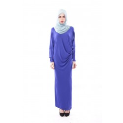 Latifa Draped Jersey Dress in Blue