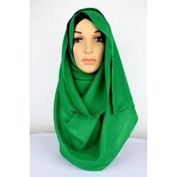 SALMA Metallic Chiffon Shawl in Emerald Green