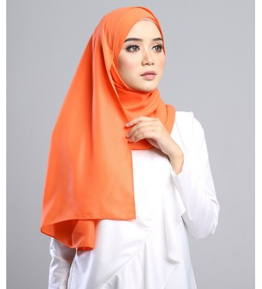 SALMA Metallic Chiffon Shawl in Tangerine Orange
